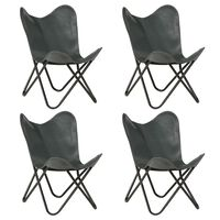 vidaXL Butterfly Chairs 4 pcs Grey Kids Size Real Leather