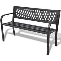 vidaXL Garden Bench 118 cm Steel Black