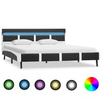 vidaXL Bed Frame with LED Grey and White Faux Leather 150x200 cm