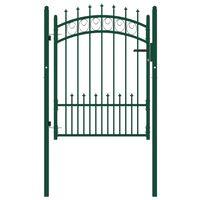 vidaXL Fence Gate with Spikes Steel 100x125 cm Green