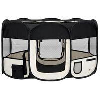 vidaXL Foldable Dog Playpen with Carrying Bag Black 145x145x61 cm