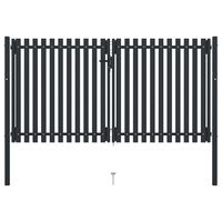 vidaXL Double Door Fence Gate Steel 306x220 cm Anthracite