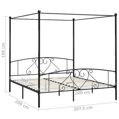 vidaXL Canopy Bed Frame Black Metal 200x200 cm