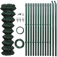 vidaXL Chain Link Fence with Posts Steel 1,25x15 m Green