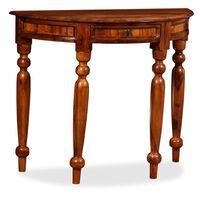 vidaXL Console Table Solid Sheesham Wood 90x40x76 cm Half Round