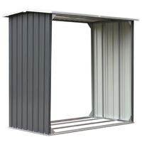 vidaXL Garden Log Storage Shed Galvanised Steel 172x91x154 cm Grey