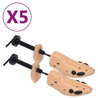 vidaXL Shoe Trees 5 Pairs Size 41-46 Solid Pine Wood