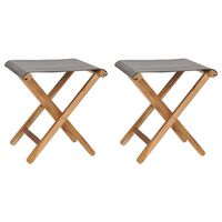vidaXL Folding Chairs 2 pcs Solid Teak Wood and Fabric Dark Grey