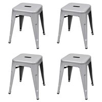vidaXL Stacking Stools 4 pcs Grey Steel