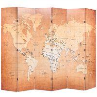 vidaXL Folding Room Divider 228x170 cm World Map Yellow