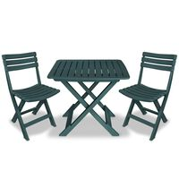 vidaXL 3 Piece Folding Bistro Set Plastic Green