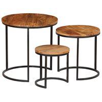 vidaXL Coffee Table Set 3 Pieces Solid Acacia Wood Sheesham Finish