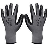 vidaXL Work Gloves Nitrile 24 Pairs Grey and Black Size 10/XL