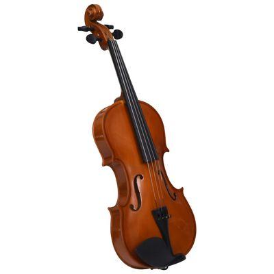 vidaXL Violin Full Set with Bow and Chin Rest Dark Wood 4/4