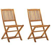 vidaXL Folding Outdoor Chairs 2 pcs Solid Acacia Wood