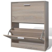 Oak Look Wooden Shoe Cabinet with 2 Compartments