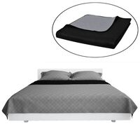 Double-sided Quilted Bedspread Black/Grey 220 x 240 cm