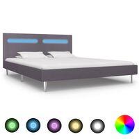 vidaXL Bed Frame with LED Grey Fabric 150x200 cm