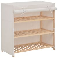 vidaXL Shoe Cabinet with Cover White 79x40x80 cm Fabric