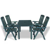 vidaXL 5 Piece Outdoor Dining Set Plastic Green