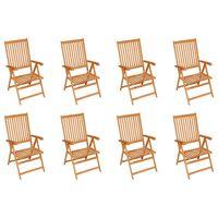 vidaXL Reclining Garden Chairs 8 pcs Solid Teak Wood