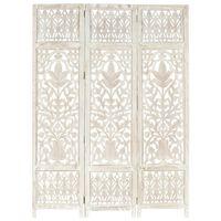 vidaXL Hand carved 3-Panel Room Divider White 120x165 cm Solid Mango Wood