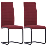 vidaXL Cantilever Dining Chairs 2 pcs Wine Fabric