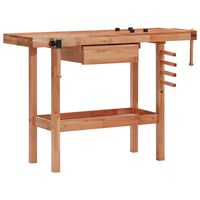 vidaXL Carpentry Workbench with Drawer and 2 Vices Hardwood