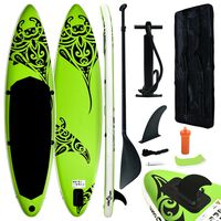 vidaXL Inflatable Stand Up Paddleboard Set 305x76x15 cm Green