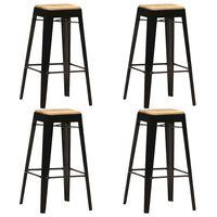vidaXL Bar Stools 4 pcs Black Solid Mango Wood