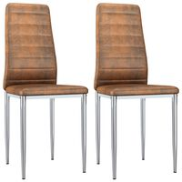 vidaXL Dining Chairs 2 pcs Brown Faux Suede Leather