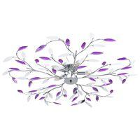 vidaXL Ceiling Lamp with Acrylic Crystal Leaf Arms for 5 E14 Bulbs Purple