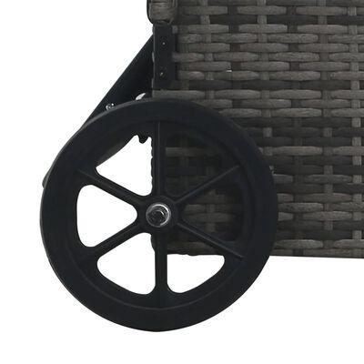 vidaXL Sun Lounger with Wheels Poly Rattan Grey
