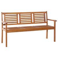 vidaXL 3-Seater Garden Bench 150 cm Solid Eucalyptus Wood