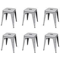 vidaXL Stacking Stools 6 pcs Grey Steel