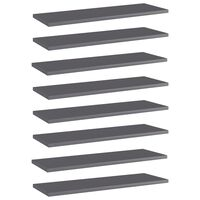 vidaXL Bookshelf Boards 8 pcs High Gloss Grey 60x20x1.5 cm Chipboard