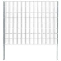 vidaXL 2D Gabion Fence Galvanised Steel 2.008x1.63 m 4 m (Total Length) Silver