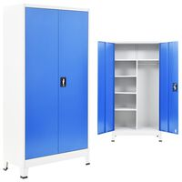 vidaXL Locker Cabinet with 2 Doors Metal 90x40x180 cm Grey and Blue