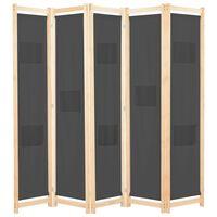 vidaXL 5-Panel Room Divider Grey 200x170x4 cm Fabric