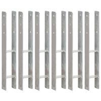 vidaXL Fence Anchors 6 pcs Silver 8x6x60 cm Galvanised Steel