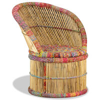 vidaXL Bamboo Chair with Chindi Details