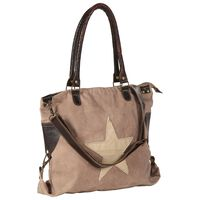 vidaXL Shopper Bag Brown 41x63 cm Canvas and Real Leather
