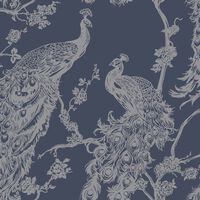 DUTCH WALLCOVERINGS Wallpaper Peacock Navy Blue and Silver