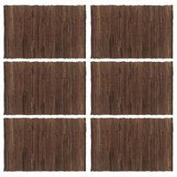 vidaXL Placemats 6 pcs Chindi Plain Brown 30x45 cm Cotton