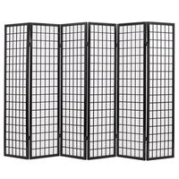 vidaXL Folding 6-Panel Room Divider Japanese Style 240x170 cm Black