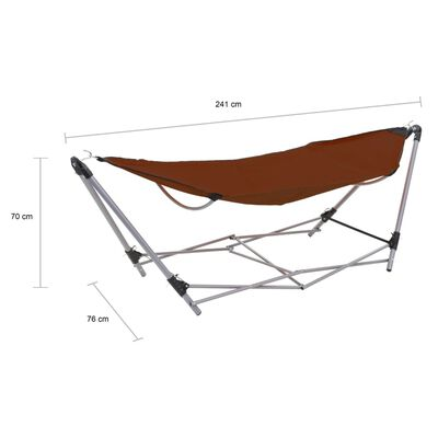 vidaXL Hammock with Foldable Stand Brown