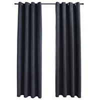 vidaXL Blackout Curtains with Metal Rings 2 pcs Anthracite 140x225 cm