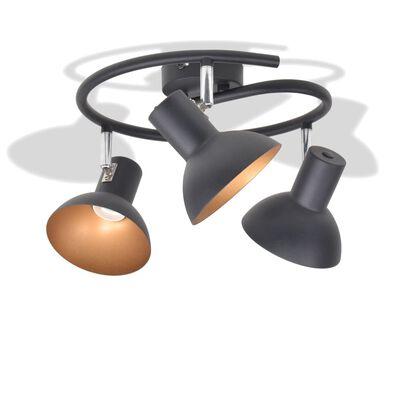 vidaXL Ceiling Lamp for 3 Bulbs E27 Black and Gold