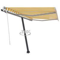 vidaXL Freestanding Manual Retractable Awning 350x250 cm Yellow/White