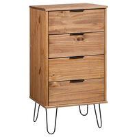 vidaXL Drawer Cabinet Light Wood and White 45x39.5x90.3 cm Pine Wood